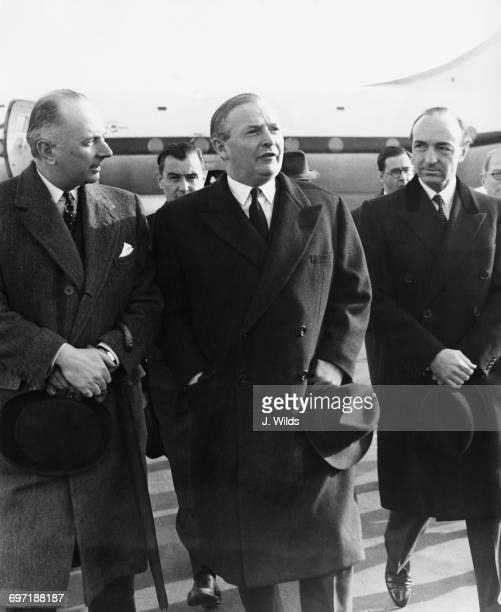 British Foreign Secretary Selwyn Lloyd at London Airport on his return from meetings on the Suez Crisis at the United Nations in New York 28th...