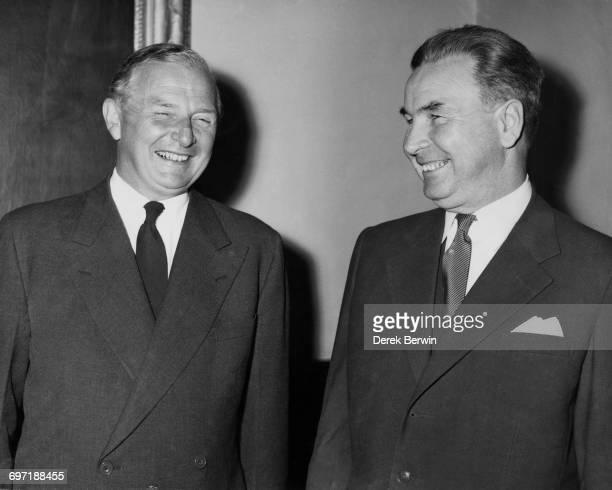 British Foreign Secretary Selwyn Lloyd with his Polish counterpart Adam Rapacki at the Foreign Office 12th September 1958