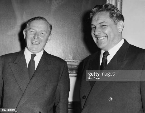 British Foreign Secretary Selwyn Lloyd with his Soviet counterpart Dmitri Shepilov meeting at the Foreign Office in preparation for a Conference on...