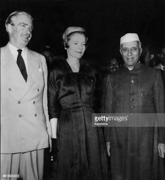 British Foreign Secretary Sir Anthony Eden and his wife Clarissa are met by Indian Prime Minister Jawaharlal Nehru upon their arrival at Palam...