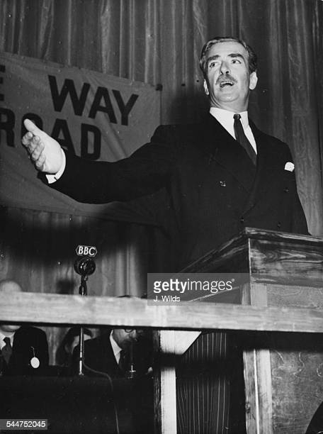 British Foreign Secretary Sir Anthony Eden making a speech at the first national gathering of Conservative Trade Unionists Empress Hall Earl's Court...