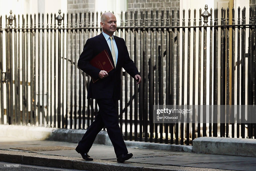 British Foreign Secretary William Hague arrives in Downing Street on August 29, 2013 in London, England. Prime Minister David Cameron has recalled Parliament to debate the UK's response to a suspected chemical weapon attack in Syria.
