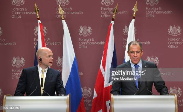 British Foreign Secretary William Hague looks to Russian Foreign Minister Sergey Lavrov during a press conference at the Foreign and Commonwealth...