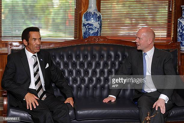 British Foreign Secretary William Hague talks with Botswana's President Ian Khama during their meeting in Gaborone on February 15 2012 Hague arrived...