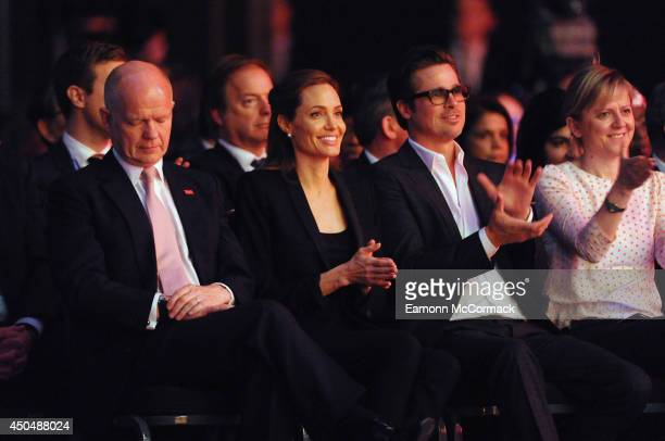 British Foreign Secretary William Hague UN Special Envoy and actress Angelina Jolie and Actor Brad Pitt attend the Global Summit to End Sexual...