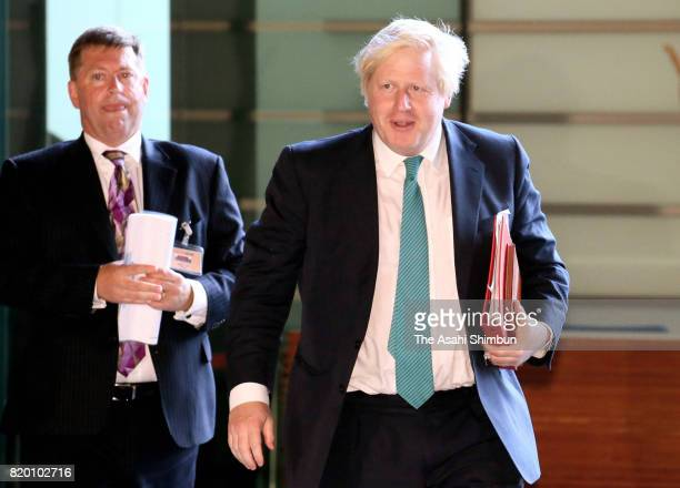 British Foreign Secretery Boris Johnson is seen on arrival at Prime Minister Shinzo Abe's official residence prior to the meeting on July 17 2017 in...