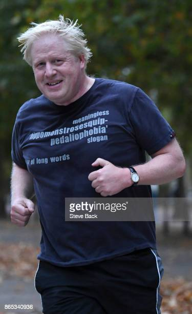 British Foriegn Secretary Boris Johnson is seen jogging in Westminster on October 23 2017 in London England