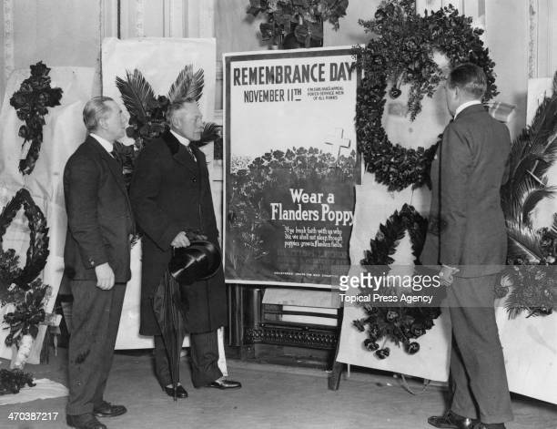 British former Field Marshal Douglas Haig 1st Earl Haig and WG Willcox inspect memorial wreaths before Armistice Day October 1922 Haig founded the...