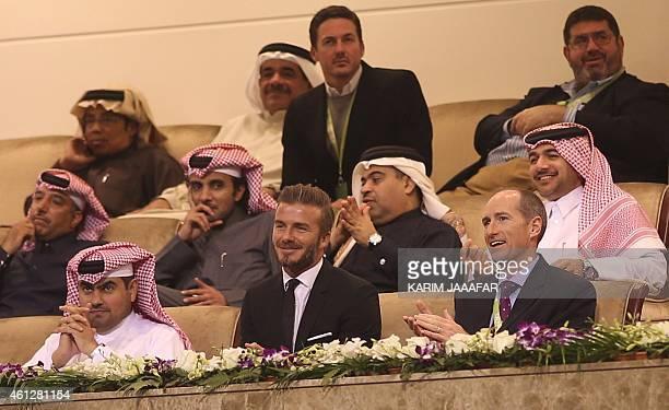 British former football player David Beckham attends the Qatar's ExxonMobil Tennis Open final game between Czech Republic's Tomas Berdych and Spain's...