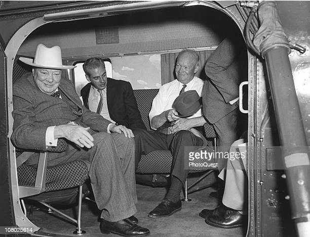 British former Prime Minister Winston Churchill and US President Dwight Eisenhower sit on a helicopter Gettysburg Pennsylvania May 6 1959 The men had...