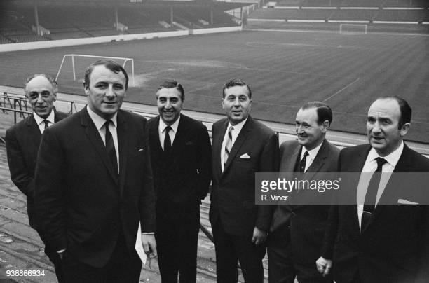 British former soccer player Tommy Docherty new manager of Aston Villa FC with new board of directors Harry Kartz Pat Matthews Doug Ellis Bob McKay...