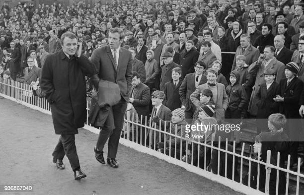 British former soccer player Tommy Docherty new manager of Aston Villa FC arrives at Villa Park for his first match against Norwich FC Birmingham UK...