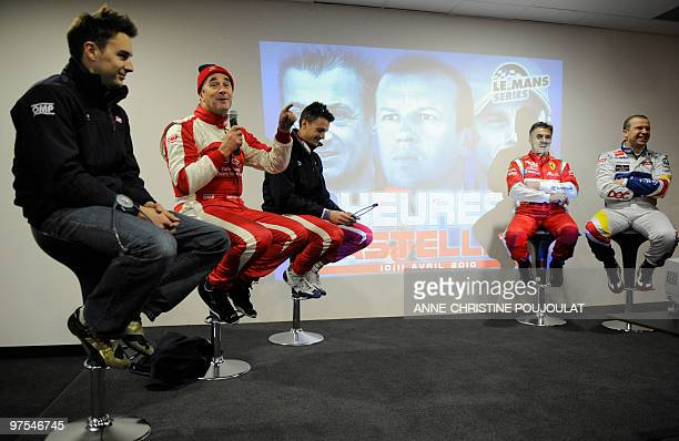 British Formula 1 driver Nigel Mansell and his sons Greg and Léo talks on March 8 2010 at the circuit Paul Ricard in Le Castellet during the official...