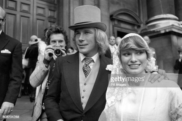 British Formula One driver James Hunt shortly after marrying model Suzy Miller at Brompton Oratory London