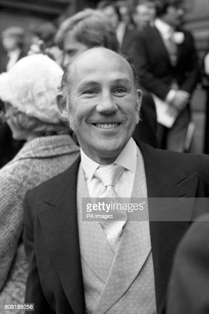 British Formula One legend Stirling Moss attends the wedding of another British driver James Hunt Hunt wed to model Suzy Miller at Brompton Oratory...
