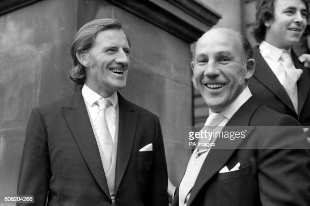 British Formula One legends Graham Hill and Stirling Moss attend the wedding of another British driver James Hunt Hunt wed to model Suzy Miller at...