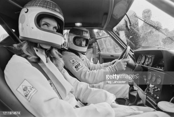 British Formula One racing driver Jackie Stewart and his wife Helen drive around the Circuit Paul Ricard in Le Castellet France 4th September 1972...
