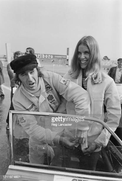 British Formula One racing driver Jackie Stewart and his wife Helen at the Circuit Paul Ricard where Stewart was competing in the 1972 Paul Ricard 6...