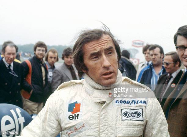 British Formula One racing driver Jackie Stewart pictured attending the Gunnar Nilsson Memorial Meeting at Donington Park circuit in Leicestershire...