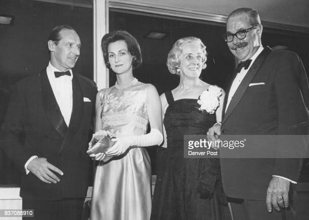 British Foursome Arrives for Dinner at Brown Palace Sir David OrmsbyGore and Lady OrmsbyGore left came with British Consul and Mrs Laurence...