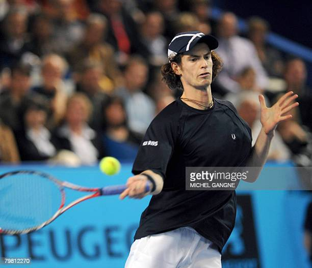 British fourth seed Andy Murray hits a return to Croatian Mario Ancic on February 17, 2008 during their final match at the ATP Open 13 in Marseille,...