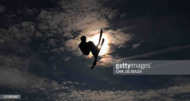 A British freestyle skier fliesduring the Battle of Britain freeski competition at the London landmark Battersea Power station on October 28 2011 The...