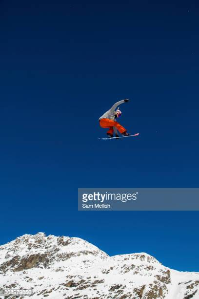 British freestyle snowboarder Katie Ormerod during spring training on 05th May 2017 in Corvatsch Switzerland Piz Corvatsch is a mountain in the...