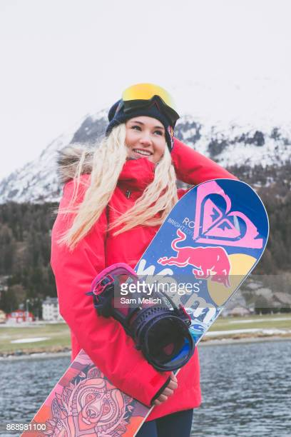 British Freestyle Snowboarder Katie Ormerod on 07th May 2017 in Silvaplana Switzerland Silvaplana is a municipality in the Maloja Region in the Swiss...