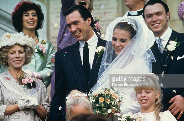 British gangster Reggie Kray, played by Martin Kemp, marries Frances Shea in a scene from 'The Krays', directed by Peter Medak, 1990. On the right is...