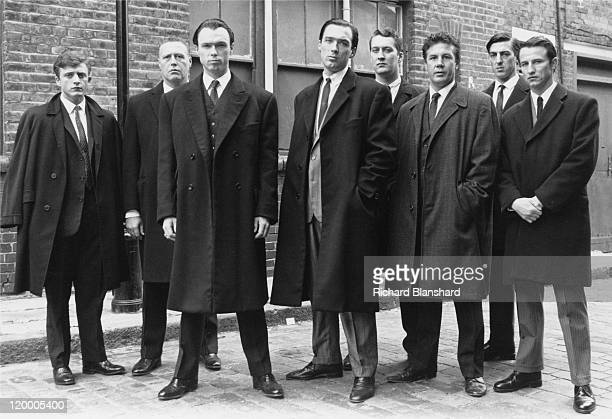 British gangsters Reggie Kray played by Martin Kemp and Ronnie Kray played by Gary Kemp with members of their gang in 'The Krays' directed by Peter...