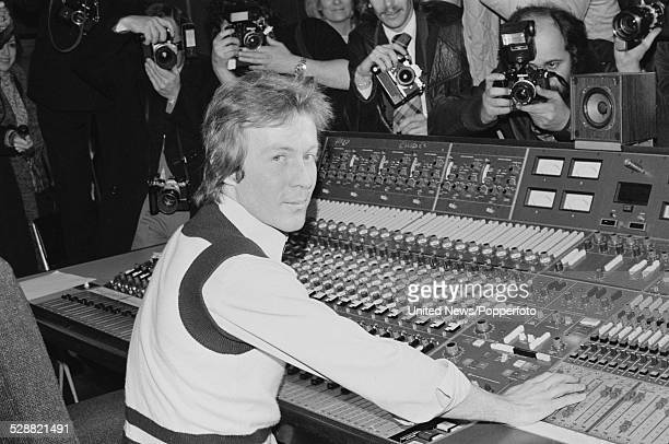 British gardener and singer Roddy Llewellyn pictured at a press photo call sitting at a mixing desk in a recording studio during the recording of his...