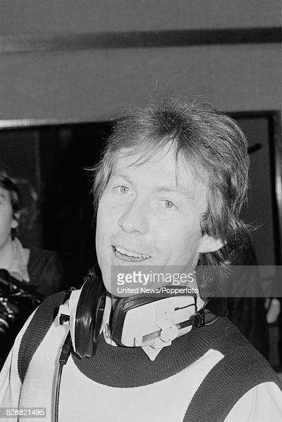 British gardener and singer Roddy Llewellyn pictured at a press photo call wearing headphones in a recording studio during the recording of his first...