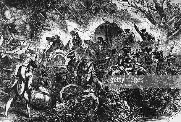 British General Edward Braddock and his expedition are attacked by Native American allies of the French during the French and Indian War 13th July...
