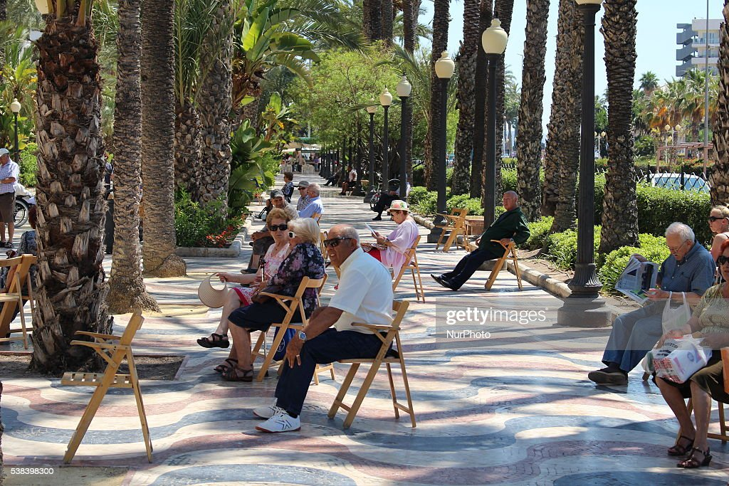 British, German and Spanish pensioners enjoy sunny day in Alicante, Costa Blanca, Spain, on June 6, 2016. Over 800.000 British people - mostly pensioners, living in Spain worry about probably the Brexit consequences. They aware about their right to live in Spain, have property, and health care as the after Brexit Britain will be outside the EU and European law regulations of common market.