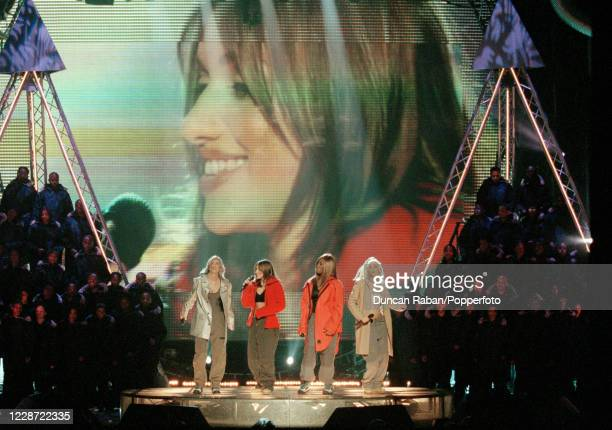 British girl group All Saints Nicole Appleton Melanie Blatt Shaznay Lewis and Natalie Appleton performing during the Brit Awards at the London Arena...