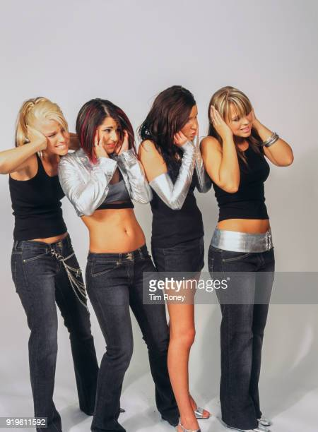 British girl group Girls Aloud April 2003 Sarah Harding Cheryl Cole Nadine Coyle and Kimberley Walsh