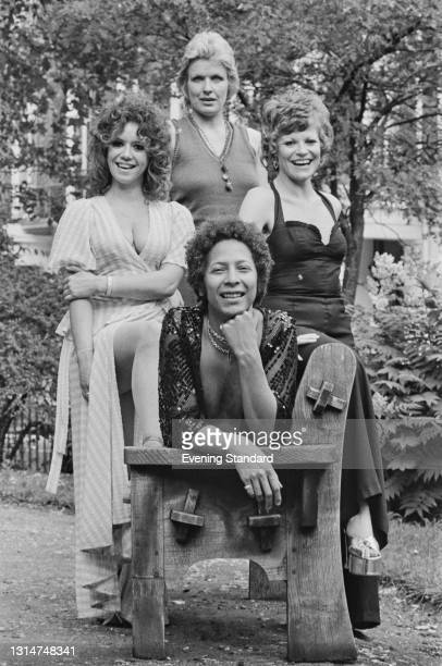British glam music group Rock Bottom, UK, 12th July 1974. From left to right, they are Diane Langton, Gaye Brown and Annabel Leventon with another...