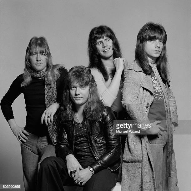 British glam rock band Sweet London 13th January 1976 Left to right singer Brian Connolly bassist Steve Priest drummer Mick Tucker and guitarist Andy...