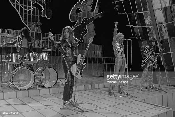 British glam rock group Sweet performing on the Christmas Day edition of the BBC TV music show 'Top Of The Pops' broadcast 25th December 1973 Left to...