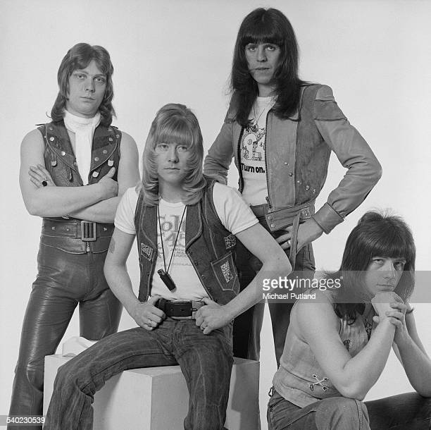 British glam rock group The Sweet March 1975 Left to right bassist Steve Priest singer Brian Connolly drummer Mick Tucker and guitarist Andy Scott
