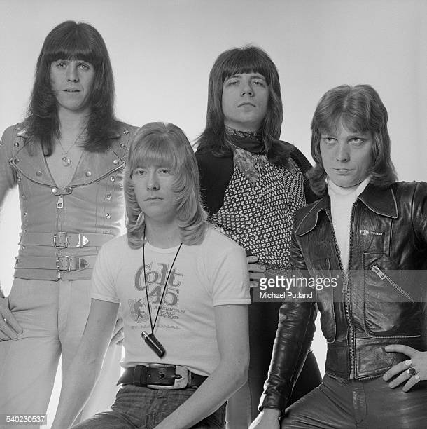 British glam rock group The Sweet March 1975 Left to right drummer Mick Tucker singer Brian Connolly guitarist Andy Scott and bassist Steve Priest