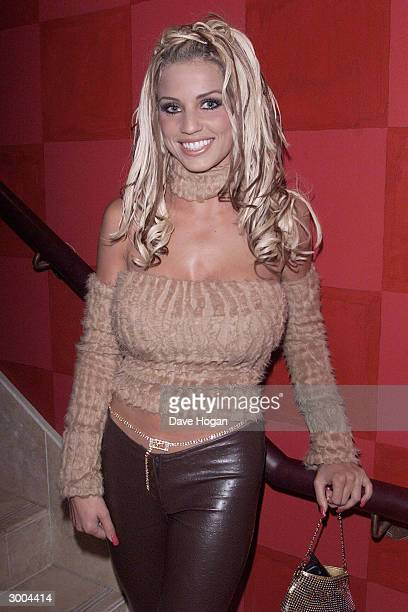 "British glamour model Jordan attends the launch party for the film ""Charlies Angels"" at the Red Cube Club on November 23, 2000 in London."