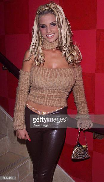 British glamour model Jordan attends the launch party for the film Charlies Angels at the Red Cube Club on November 23 2000 in London
