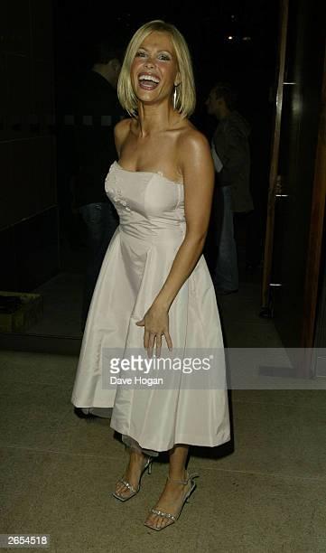 "British glamour model Melinda Messenger attends Westlife's ""Unbreakable"" album launch at the Zuma Restaurant on November 11, 2002 in London."