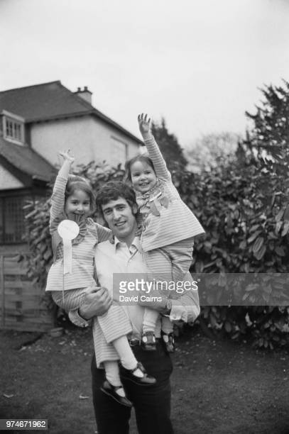 British goalkeeper Peter Bonetti of Chelsea FC with his daughters Susan and Kim UK 10th April 1970