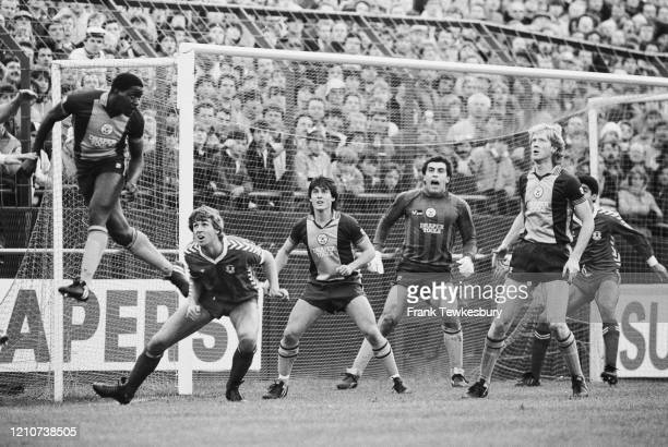 British goalkeeper Peter Shilton commands his Southampton defence during the FA Cup Fourth Round match between Leyton Orient and Southampton at...