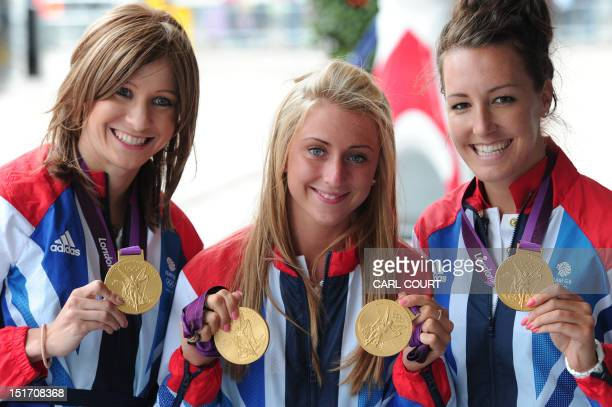 British gold medalwinning cyclists Laura Trott Jo Rowsell and Danni King as they arrive to attend a reception hosted by the prime minister following...