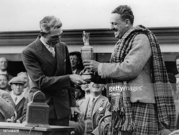 Earl of Airlie in Scottish garb handed the trophy to the winner Tommy Armour Carnoustie 1931 Photograph British Golf Open Earl of Airlie im...