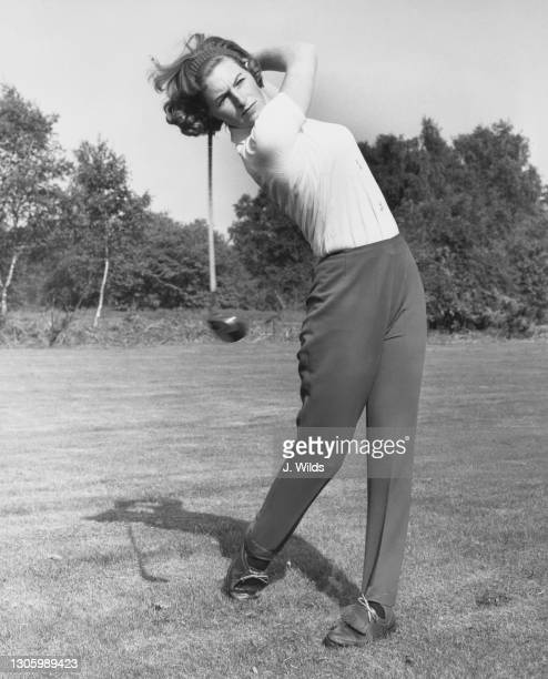 British golfer Angela Bonallack drives off the tee during the Women's National Golf Tournament on 3rd May 1963 at the Liphook Golf Club in Liphook,...