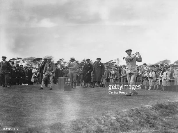 British golfer Fred Robson during the Ryder Cup at Moortown Golf Club in West Yorkshire April 1929 Standing centre is Gene Sarazen of the USA